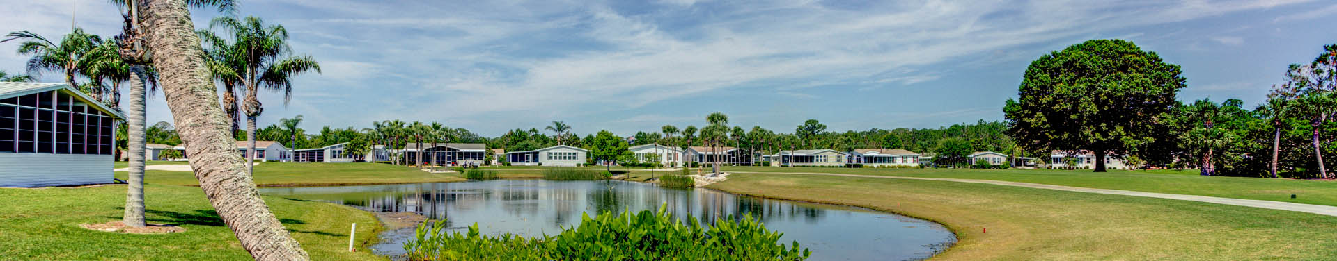 Photo of Green grass, palm trees, and mobile homes that surround a retention pond in the middle of the community
